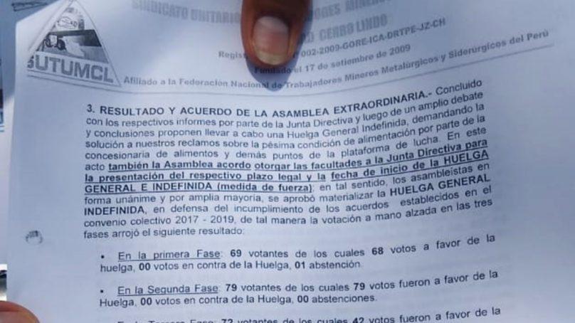 Sindicato de mina Cerro Lindo inicia huelga indefinida