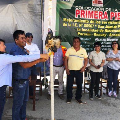 Obra por Impuestos de Antamina: Colocan primera piedra de futuro colegio de comunidad Pararín