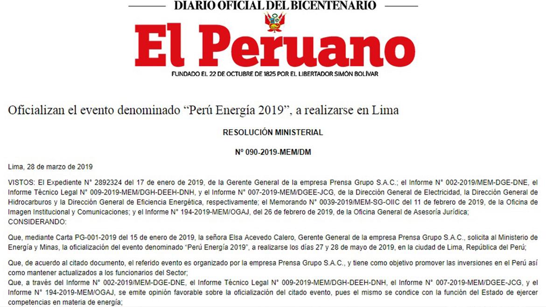 MEM oficializa sétima edición de Perú Energía 2019